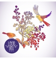 Floral greeting card with birds and branches vector