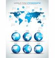 Infographic layout template with world maps vector