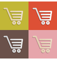 Paper shopping carts baskets set on retro vector