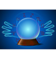 Magic ball with hands and zodiac signs vector