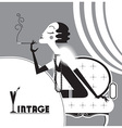 Vintage flapper girl with sigaret vector