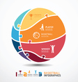 Infographic template with basketball jigsaw banner vector