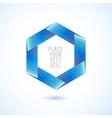 Blue hexagon shape on white background vector