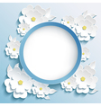 Greeting or invitation card frame with 3d sakura vector