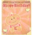 Retro baby girl birthday card vector