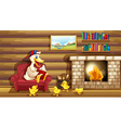 A duck and her ducklings near the fireplace vector