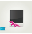 Polaroid photo with cute pink bow isolated vector