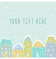 Winter houses card template vector