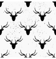 Hand drawn deer heads abstract seamless pattern vector