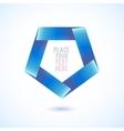 Blue penthagon shape on white background vector