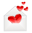Love letter and red hearts vector