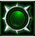 Radar screen with steel compass rose vector