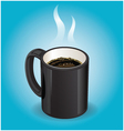Black coffee cup on blue background vector