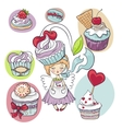 Girl with cake on her head isolated set of cupcake vector