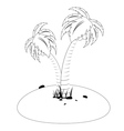 Tropic island in black and white vector