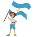 Happy soccer fan holds argentina flag vector