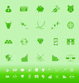 Stock market color icons on green background vector