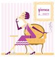 Vintage flapper girl with cigaret vector