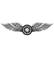 Wheel with angel wings vector