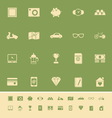 The useful collection color icons on green vector