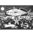 Vintage graphic blackboard for fish menu vector