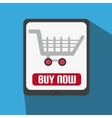 Flat design with tablet with shopping cart vector