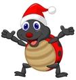 Happy ladybug cartoon wearing red hat vector