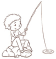 A simple plain sketch of a boy fishing vector