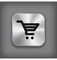 Shop cart icon - metal app button vector