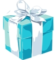 White gift box with a blue bow on white background vector