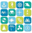 Marine icons in squares vector