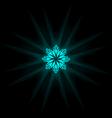 Self-illuminated cyan snowflake isolated on black vector