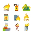 Fire protection icons vector