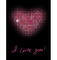 Pink color halftone heart shape vector