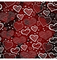 Red pattern with hearts hand drawing sketch vector
