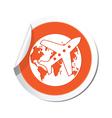 Planeandglobe orange label vector