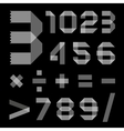 Font from scotch tape - arabic numerals vector