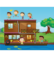Kids playing near a houseboat vector