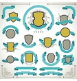 Vintage labels shields and ribbons retro style set vector