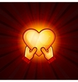 Gold heart and hands on red background vector