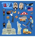 Hand-drawn usa landmarks set vector