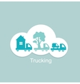 Trucking houses cars trees icon vector