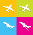 Aircraft symbols isolated on colorful background vector