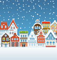 Vintage buildings with snowfall on winter vector