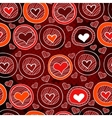 Red pattern with hearts in the circles sketch vector