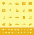 Social network color icons on yellow background vector