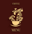 Abstract 3d cup of coffee with floral aroma design vector