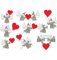 Elves with hearts set vector
