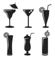 Cocktail drinks black web icon set vector