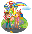 A family at the amusement park vector